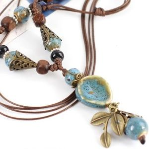 🆕 Bohemian Necklace! Blue Ceramic & Leather Rope